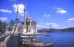 Ortakoy with the Bosphorus bridge streching from Europe to Asia